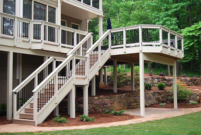 Composite deck landing quotes for Second story decks with stairs