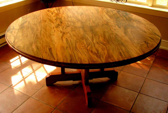 Spalted Silver Maple Table With Trestle Cherry Base Hand Built